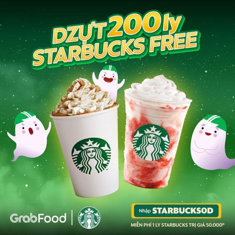 starbucks miễn phí grabfood mã giảm giá