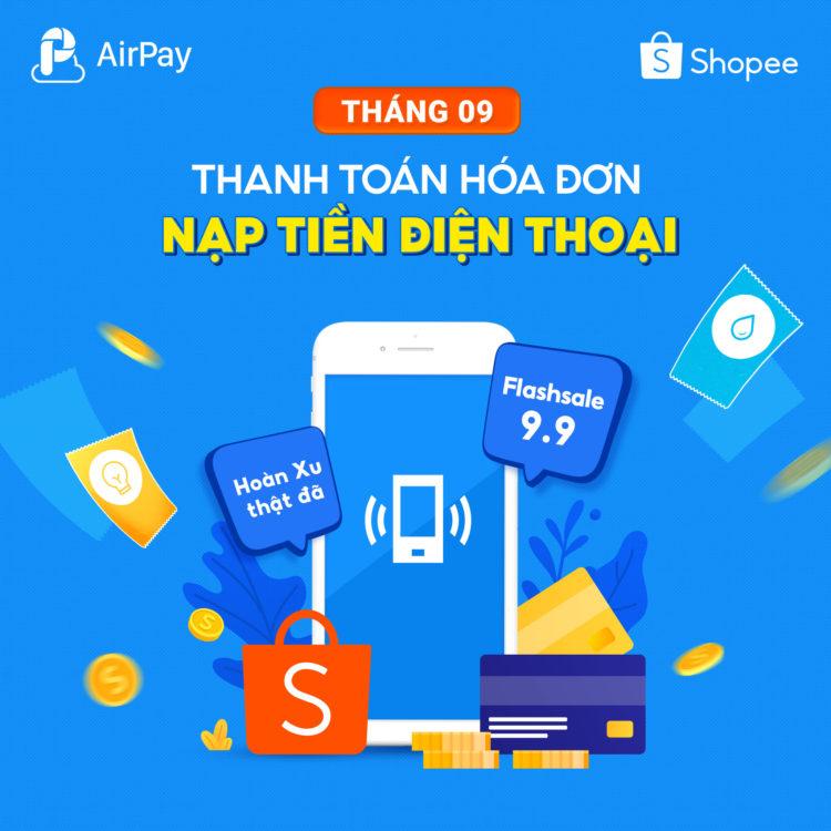 khuyến mãi nạp điện thoại hóa đơn shopee airpay